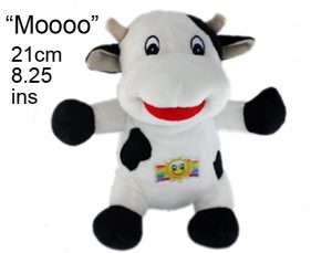 Children's black and white cow soft toy