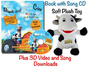 Black and White Cow book, CD, 3D Videos, song downloads and toy