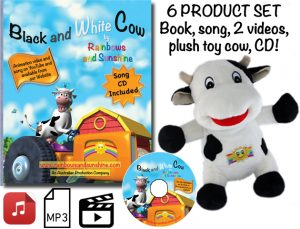 Black and White Cow book, CD, mp3 song, plush toy cow, 2 videos.