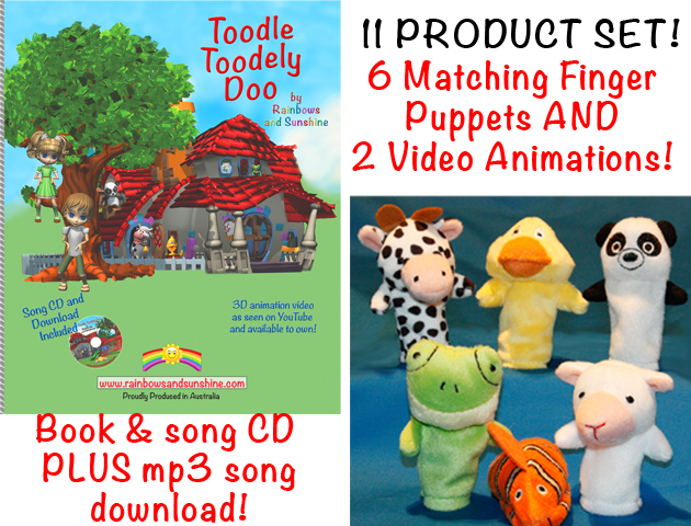 Complete Set Toodle Toodely Doo Book, CD, mp3 song, 6 finger puppets
