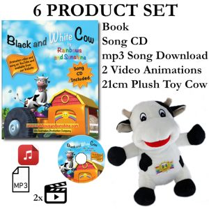 Black and White Cow 6 Product Set